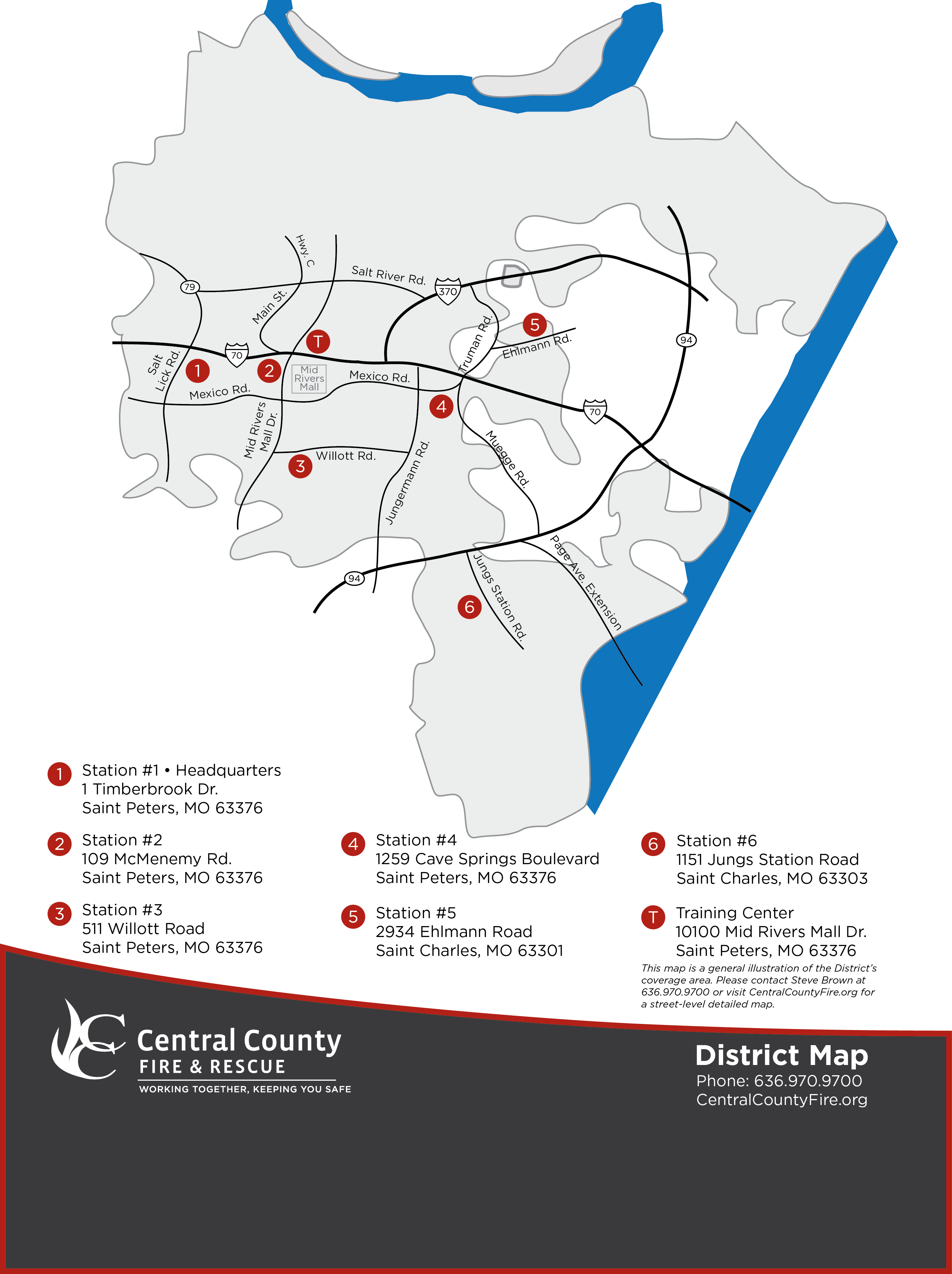 Central County Fire and Rescue district boundary map